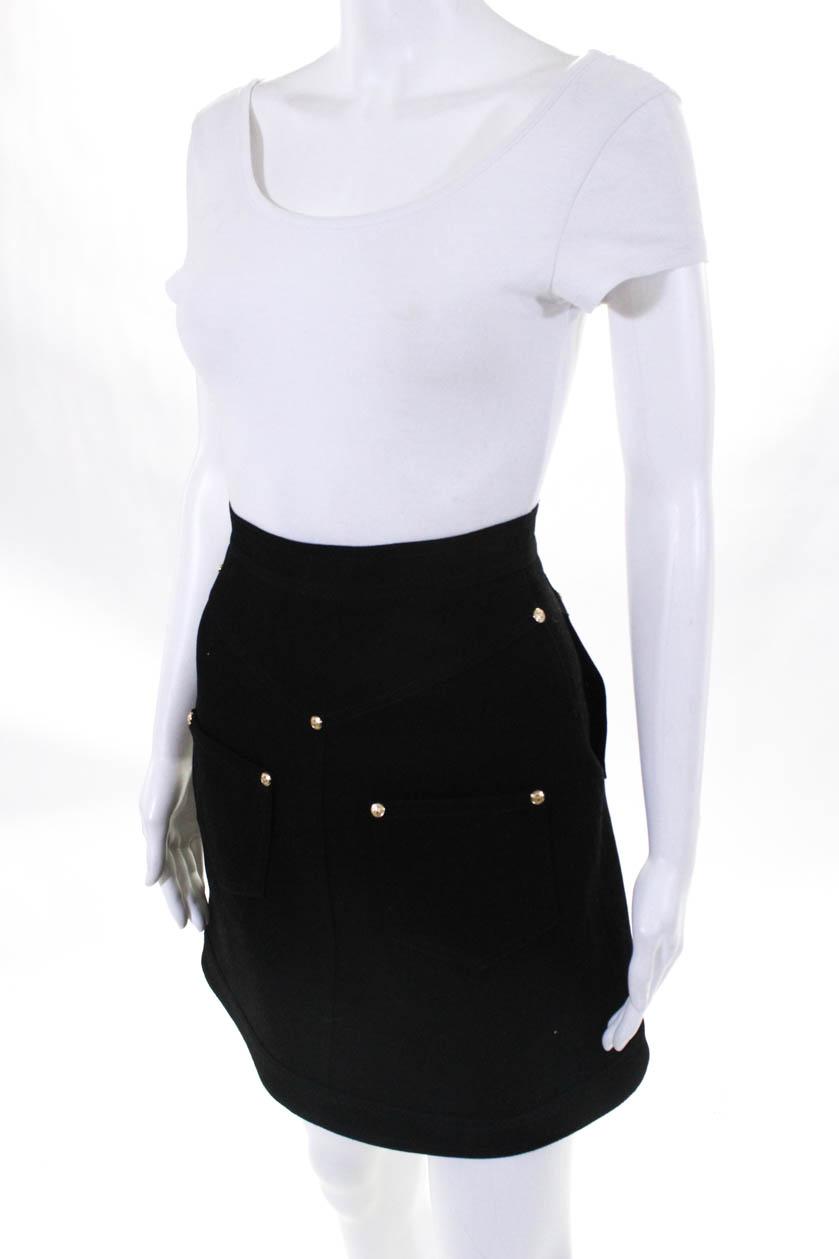 Balmain 2018 Womens Denim Zip Up A Line Mini Skirt Size EU 34 ... 57a0df423