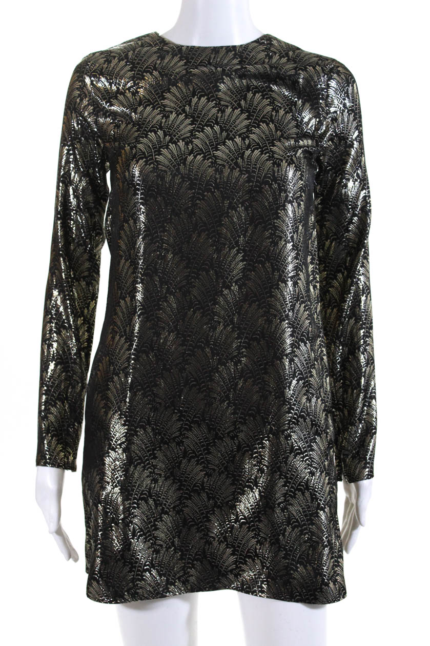 d3b26c395a77 Details about Saint Laurent Womens 2018 Shift Dress Black Gold Brocade Silk  Size 34