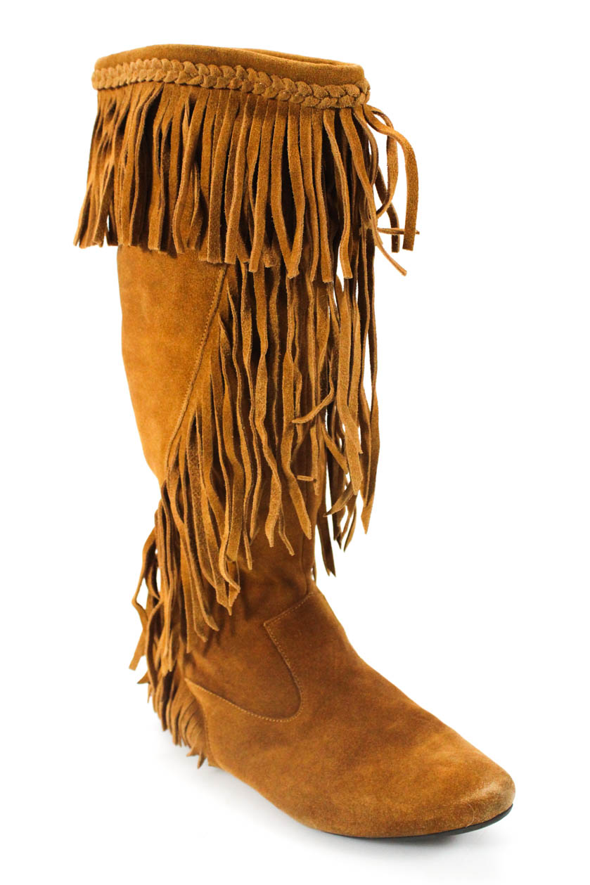 1f4777d1a65c Sam Edelman Womens Pull on Knee High Fringe Suede Boots Brown Size ...