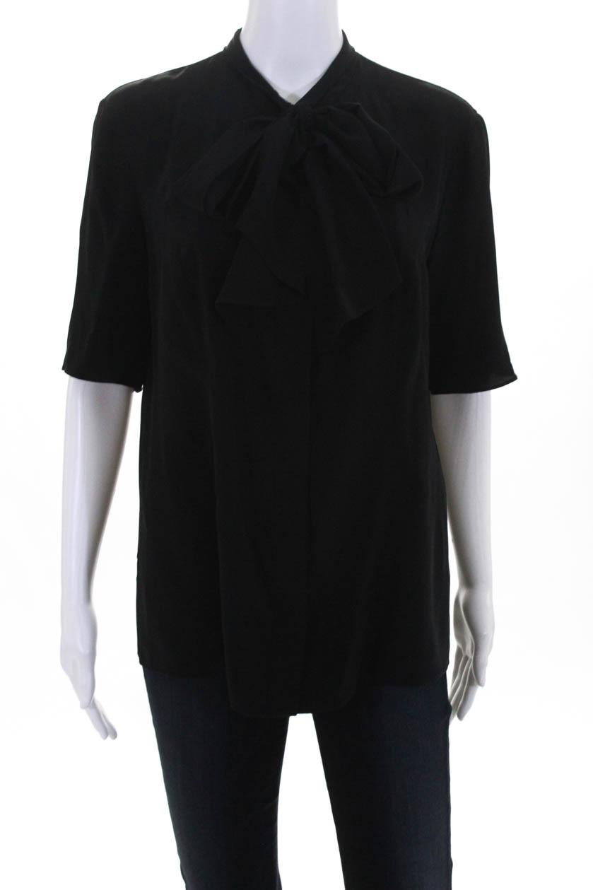 a933df7d47d11 Derek Lam Womens Short Sleeve Button Down Blouse Tie Neck Silk Black ...
