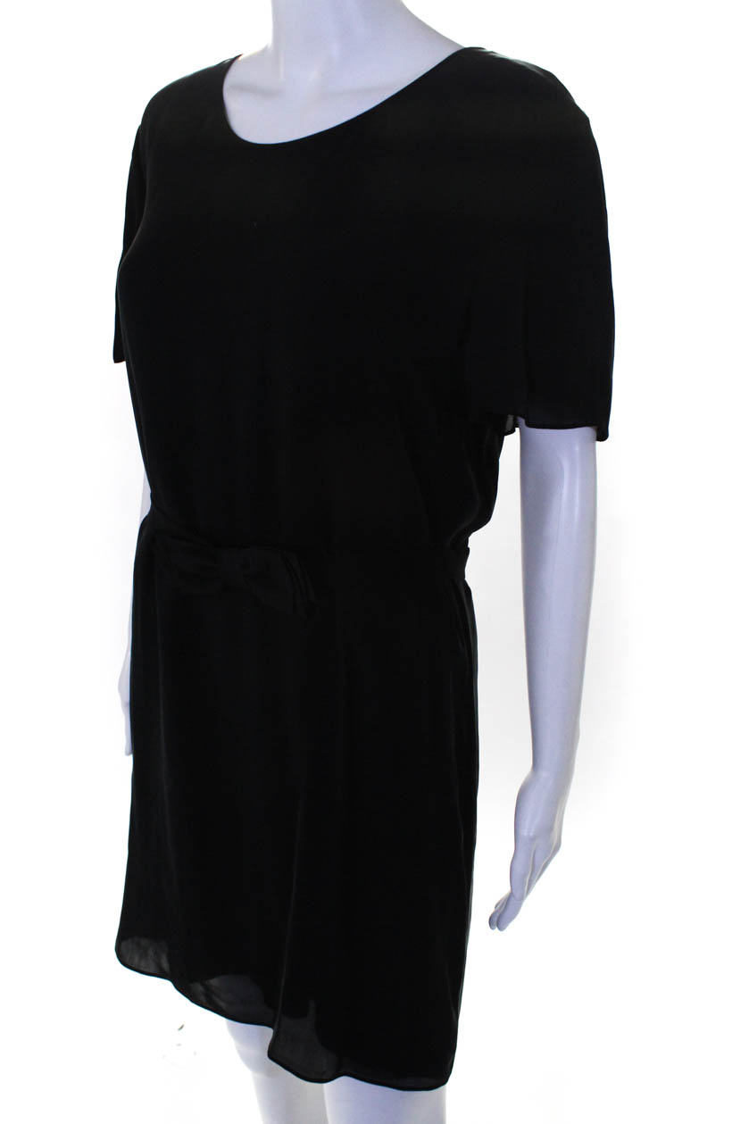 T Alexander Wang Womens Short Sleeve Crew Neck Shirt Dress Black