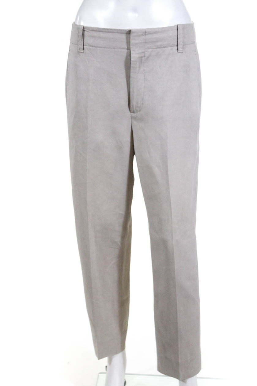 Details about Vince Womens High Waisted Straight Leg Pants Tan Linen Pocket  Size 4 15fdd2f704