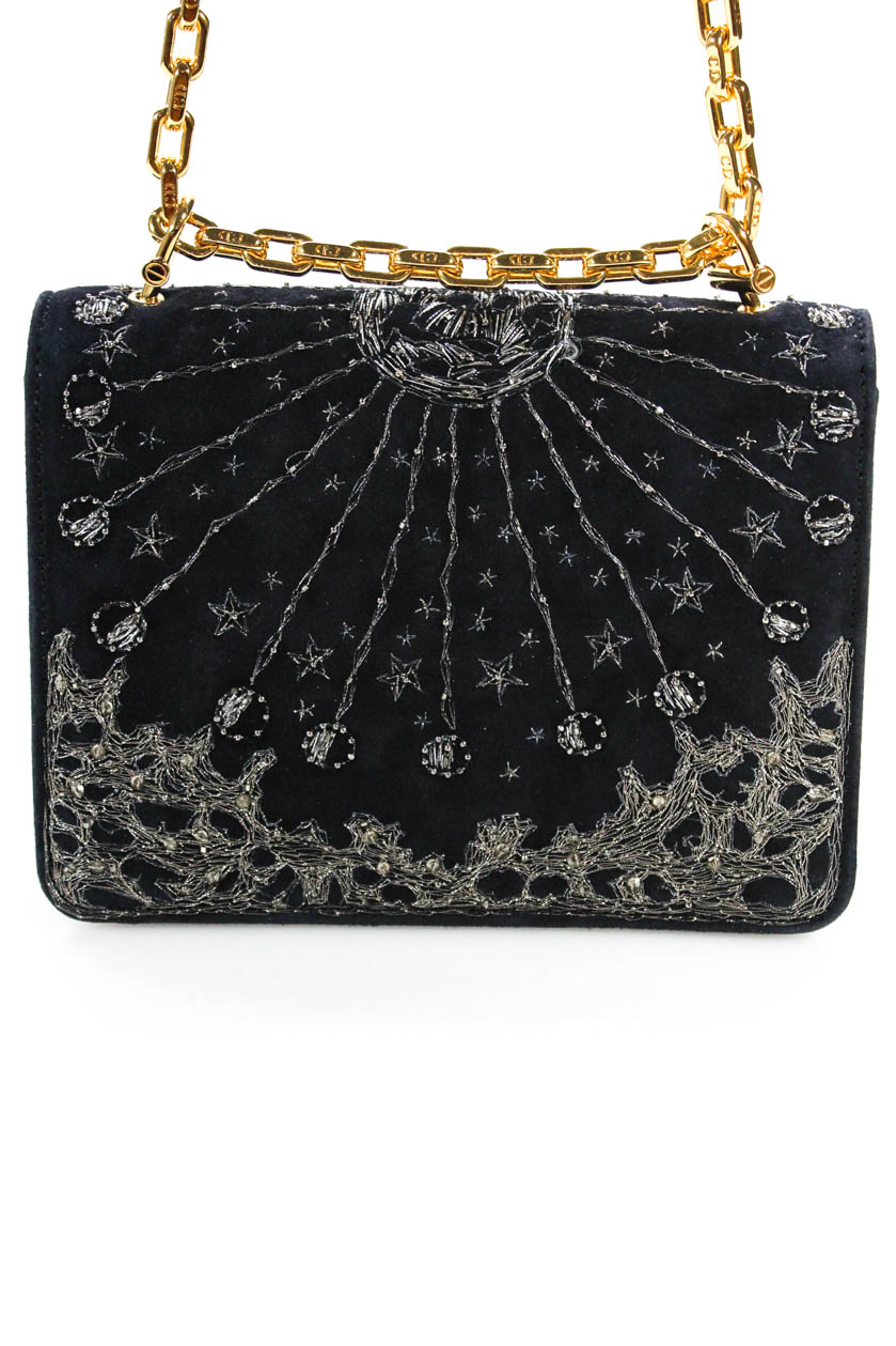bfbe2495a1c1 Details about Christian Dior Fall 2017 Navy Blue Suede Embroidered Mini  C est Flap Handbag