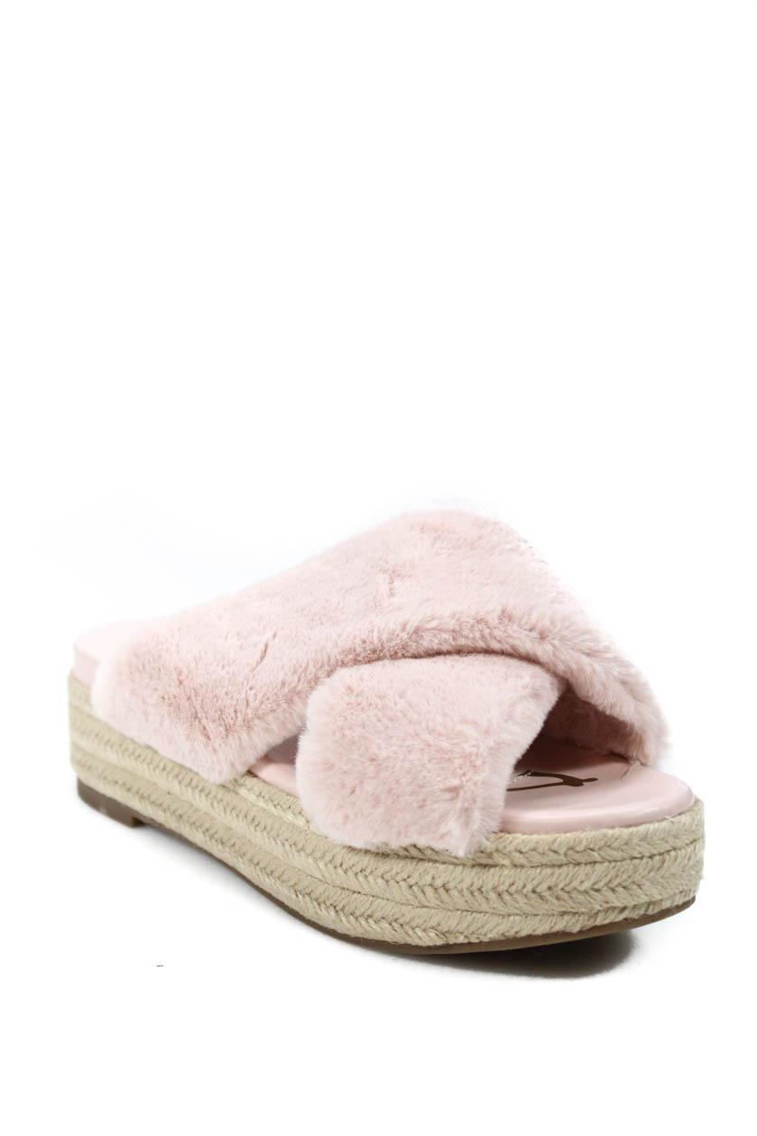 ec90887a1ec Sam Edelman Womens Zia Espadrille Platform Sandals Pink Faux Fur Size 8.5  Medium