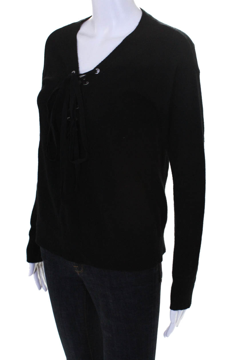 e85a985eda The Kooples Womens Lace Up V Neck Sweater Black Wool Blend Size 2