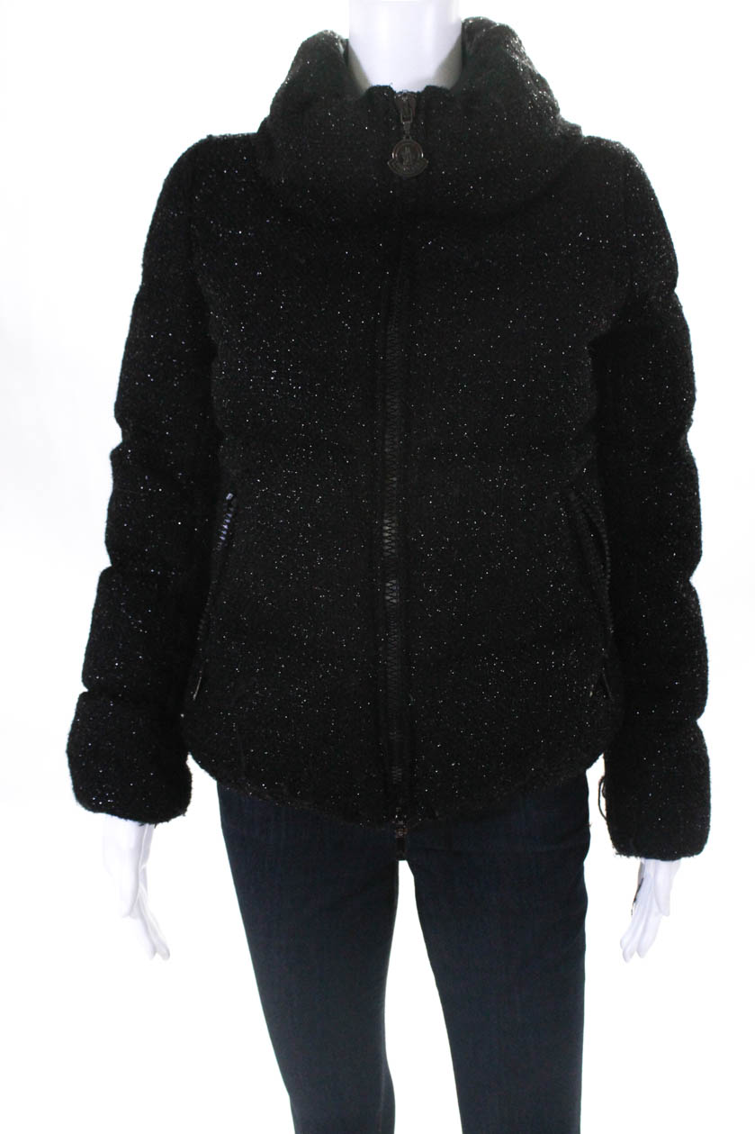 39b485660029 Moncler Womens Long Sleeve Mock Collar Black Sparkle Puffer Coat ...
