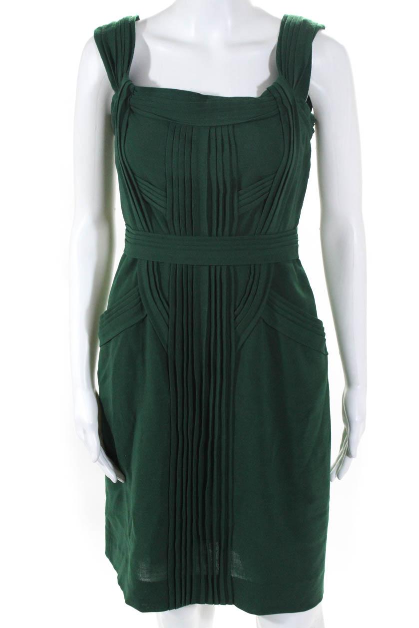 097468716f61f2 Alberta Ferretti Womens Sleeveless Ruffled Sheath Dress Green Size 4 LL19LL