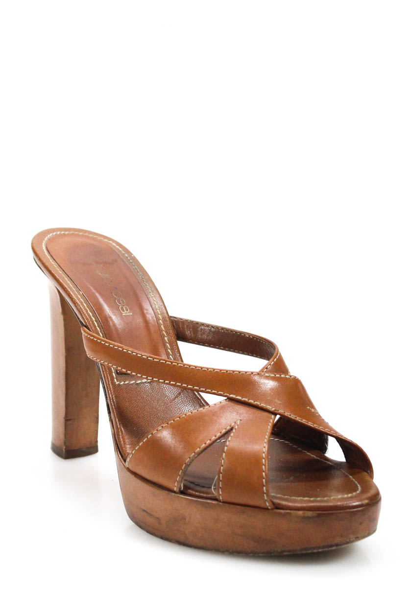 e3d2dfa2736 Details about Sergio Rossi Womens Slide On Platform Sandal Heels Brown Leather  Size 37.5 7.5