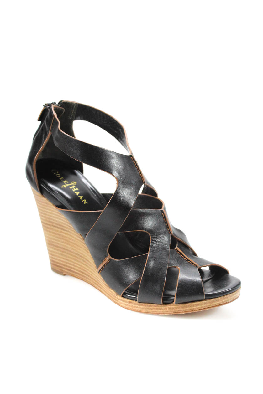 8a115b08925 Details about Cole Haan Womens Air Kimry OT Wedge Sandals Brown Size 11 M