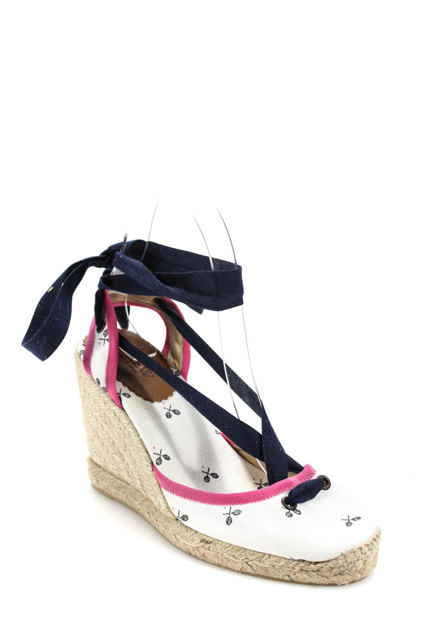 e21b335a300c J Crew Womens Lace Up Wedges Graphic White Pink Blue Size 6