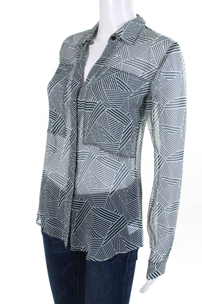 0df8276a90532 Theory Womens Button Down Shirt Top Blue White Striped Silk Size ...