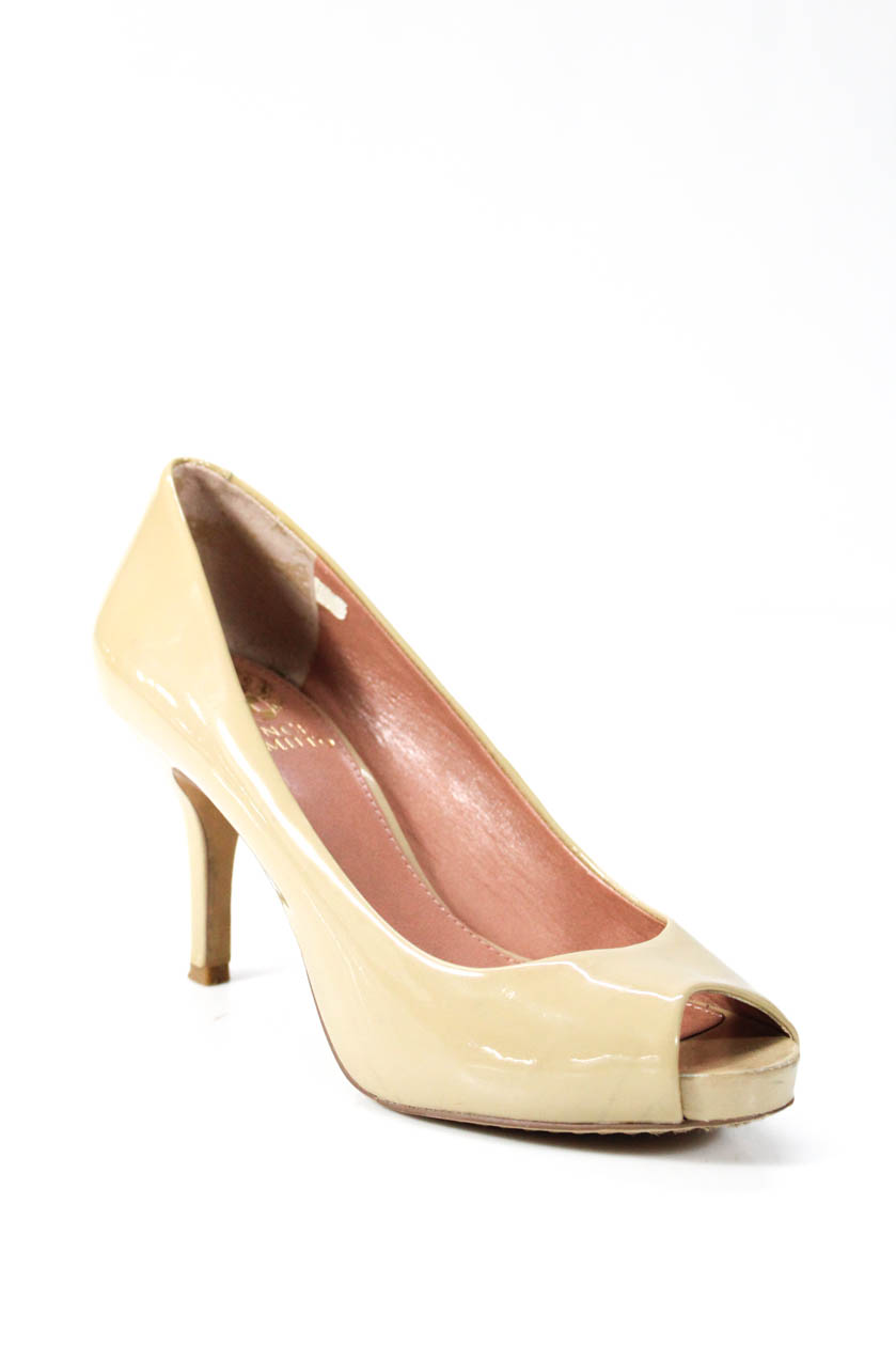 24872810267b Vince Camuto Womens Peep Toe Slides Pumps Beige Size 5