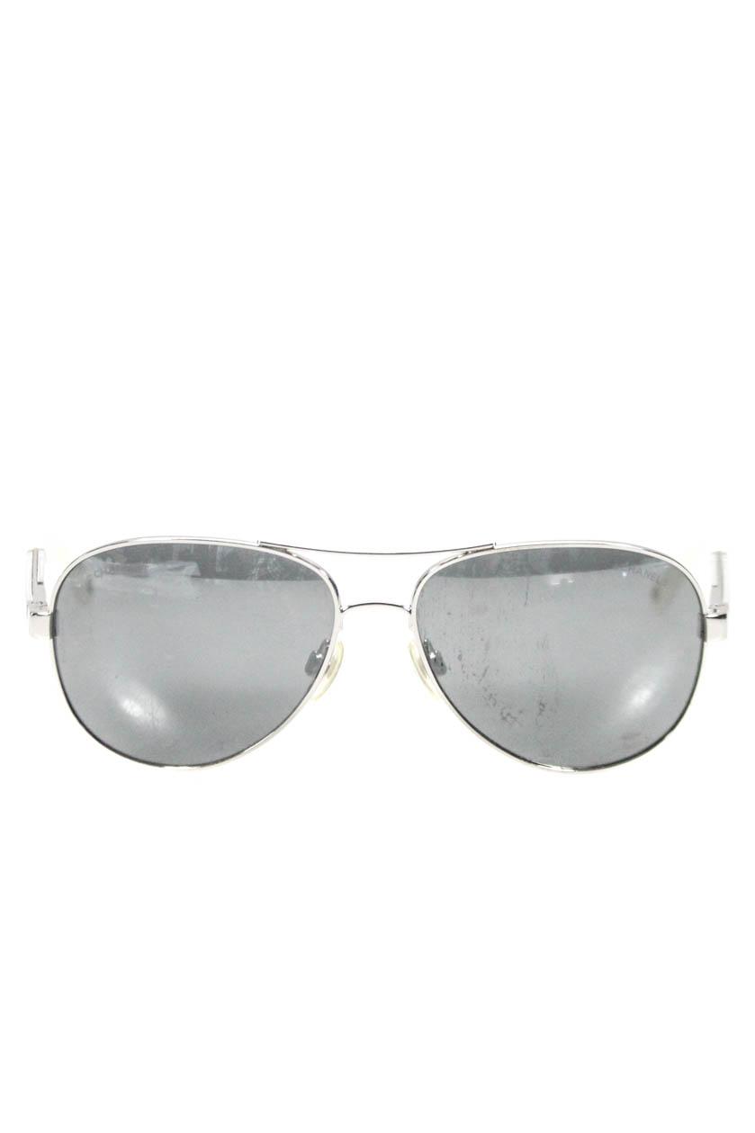 Chanel Womens Mirrored Aviator Sunglasses Silver Tone White Metal Plastic 0c2469dad4