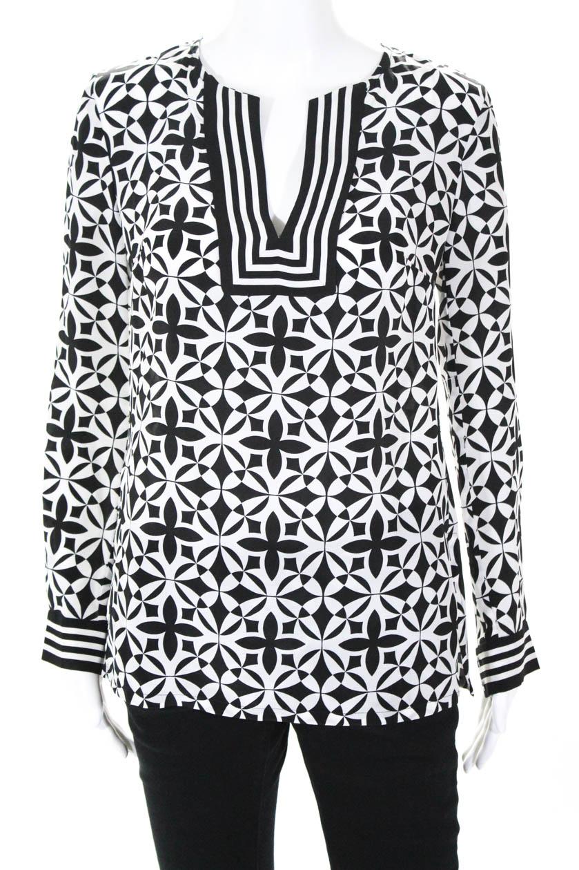 fa1cbdc4bc0986 Trina Turk Women s V Neck Blouse Long Sleeve Black White Silk Size Petite