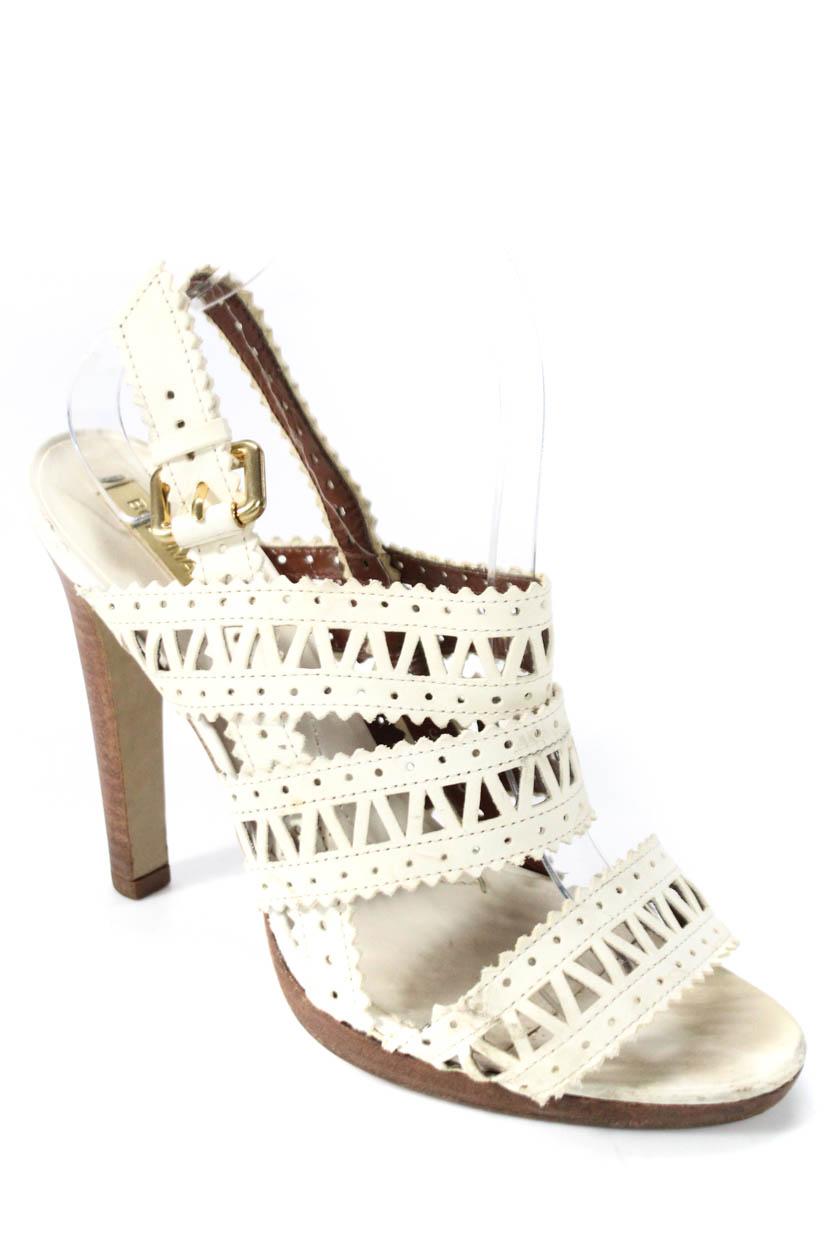 29097859775 BCBGMAXAZRIA Womens Cut Laser Cut Strappy High Heel Sandals White Leather  Size 9