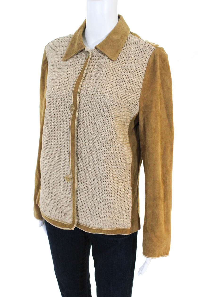 09a4377a Luciano Barbera Womens Long Sleeve Leather Woven Knit Jacket Tan ...