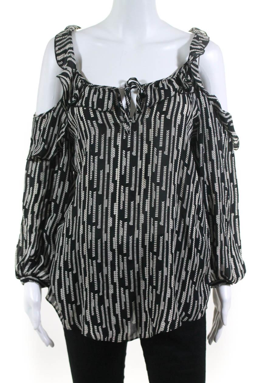 b19b8d7632e326 Parker Womens Cold Shoulder Long Sleeve Blouse Shirt Black Ivory Silk Size M