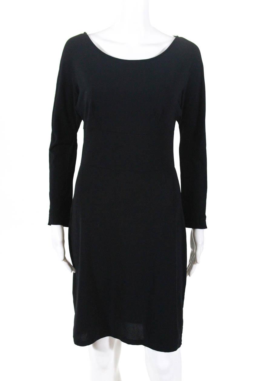 62a563d2a3 Agnes B Womens Long Sleeve Boat Neck Stretch Knit Sheath Dress Black Size 2