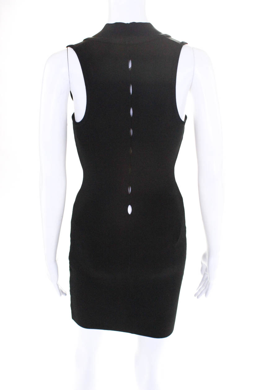 Alexander Wang Womens Sleeveless V Neck Fitted Mini Dress Black Size ... 64b3011bb