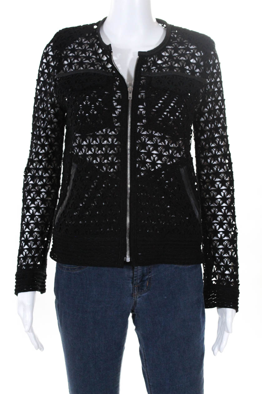 03c81cc370b94 IRO Womens Long Sleeve Open Knit Star Pattern Blazer Jacket Black Cotton IT  36