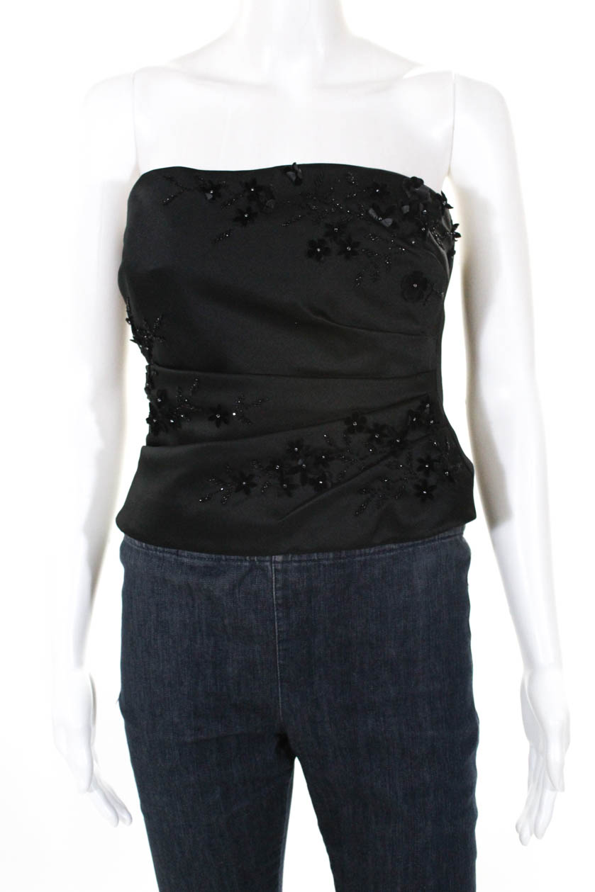 7cba96eee28 Details about Kay Unger Womens Strapless Beaded Flower Embellished Corset  Top Black Size 4