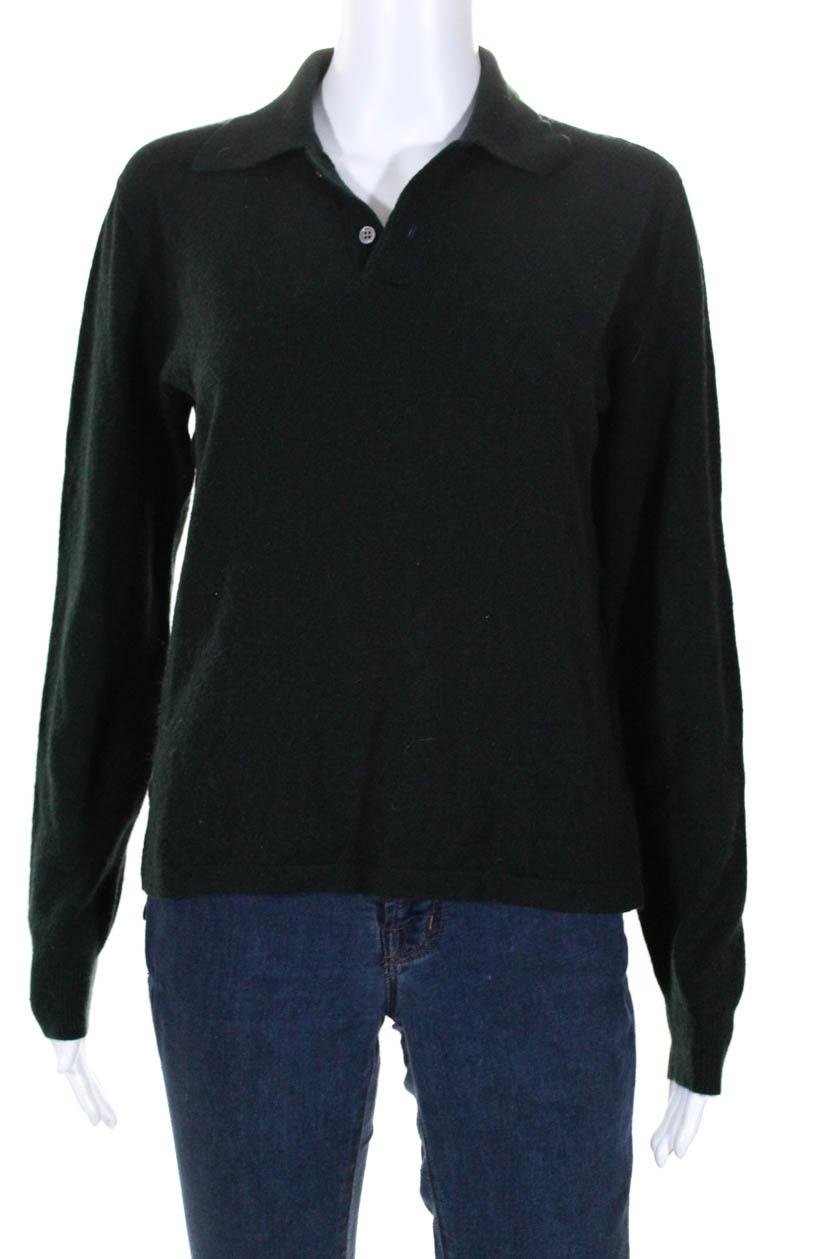 9fb76a547fc0d Ralph Lauren Purple Label Suéter Feminino Com Gola De Cashmere Verde ...