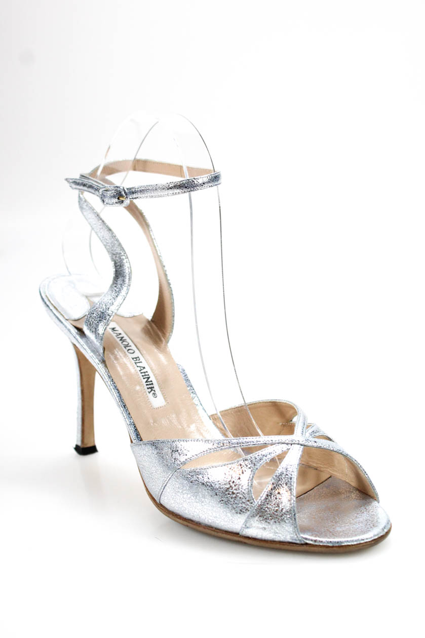 9155fcdba20 Details about Manolo Blahnik Womens Ankle Strap High Heel Sandals Silver  Leather Size 40