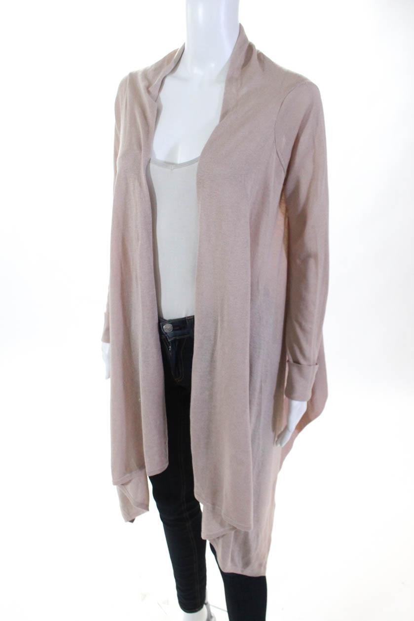 bb73cf823f7d0 BCBG Max Azria Womens Open Front Cardigan Sweater Beige Silk Size ...