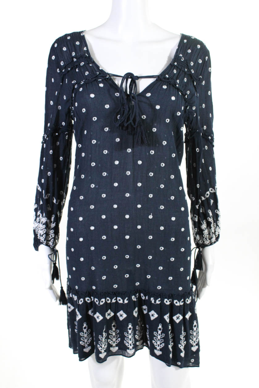 1e964c258204fc Derek Lam 10 Crosby Womens Navy Dotted Ruffle Dress Blue White Size 6  10640986