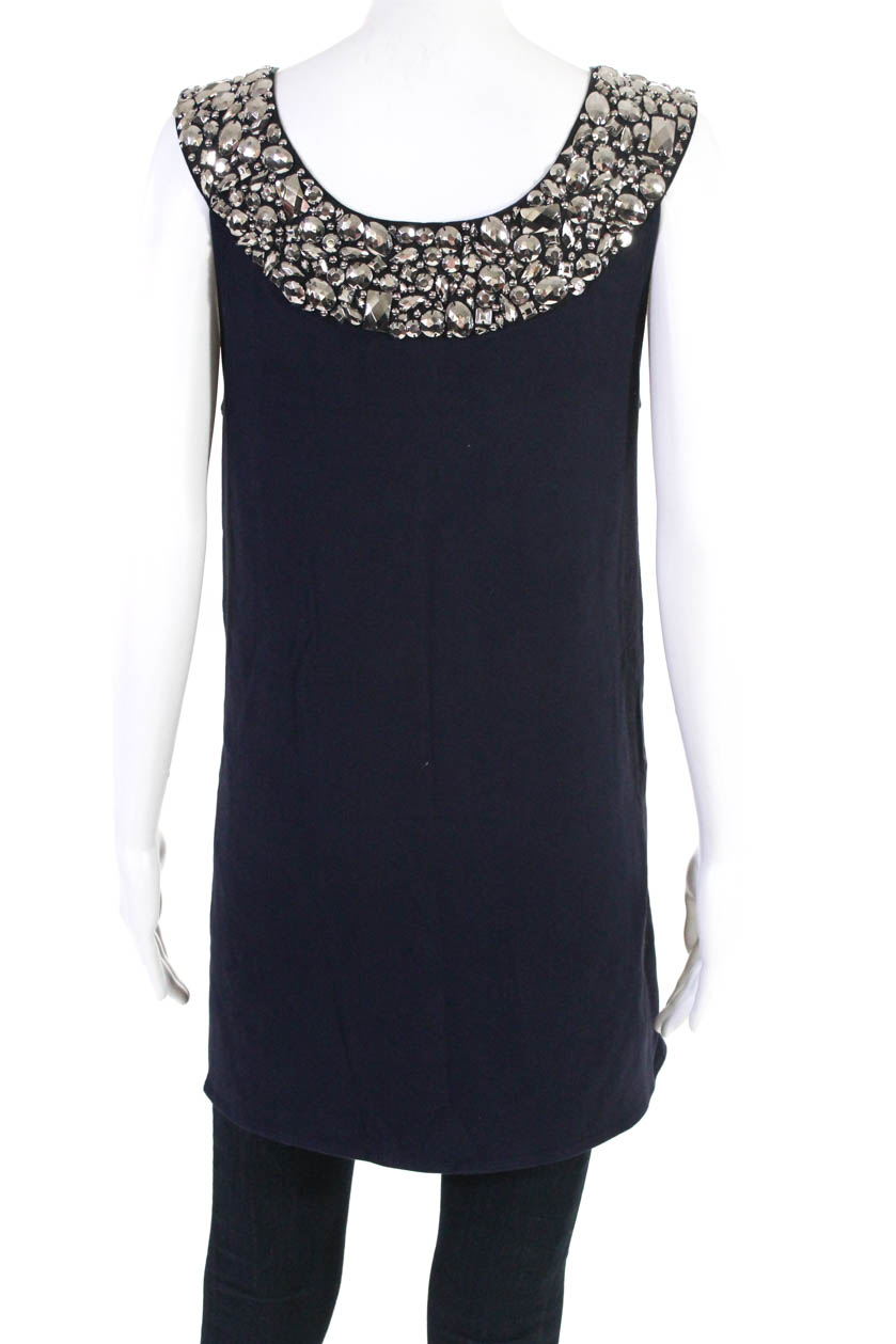 9410c8087044ea Details about Alice + Olivia Womens Sleeveless Tunic Top Navy Blue Silver  Beaded Size Large
