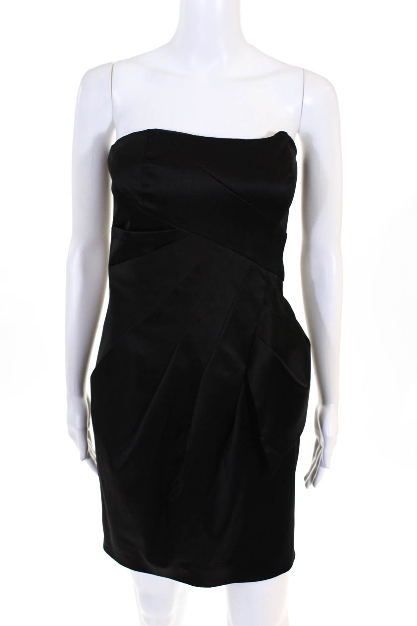 5e2827cd6805c Max And Cleo Women's Strapless Sheath Dress Zip Up Knee Length Black Size 2