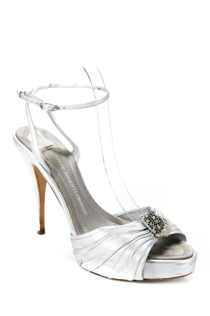 3fc9207944f4 Details about Giuseppe Zanotti Design Womens Ankle Strap Sandals Silver  Metallic Size 39 9