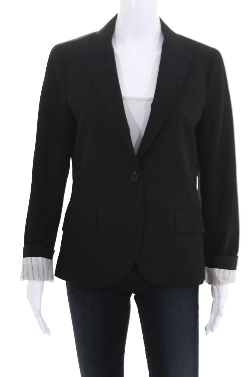 d27be24a549 Theory Womens Classic One Button Blazer Black Wool Size 10   eBay