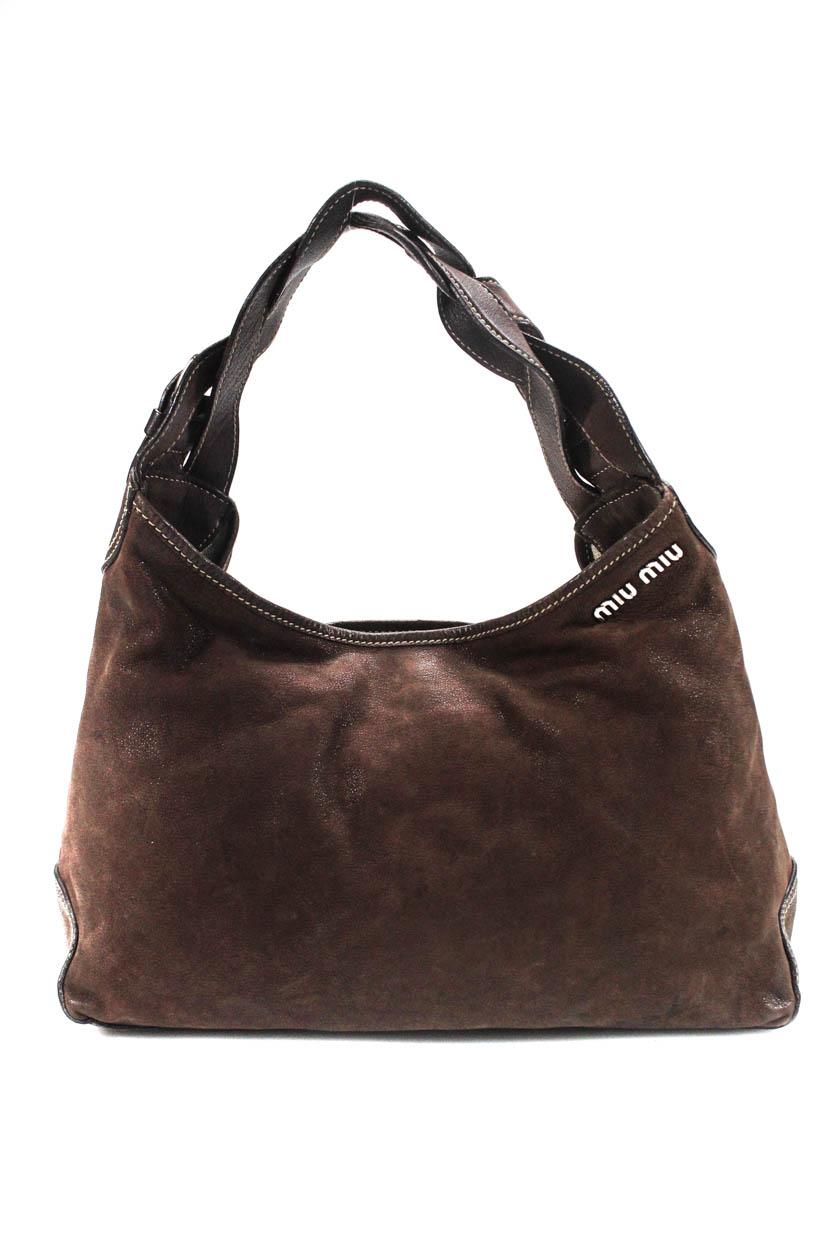 b185fb85d7eb Details about Miu Miu Woven Strap Satchel Handbag Brown Leather Sliver Tone  Size Medium