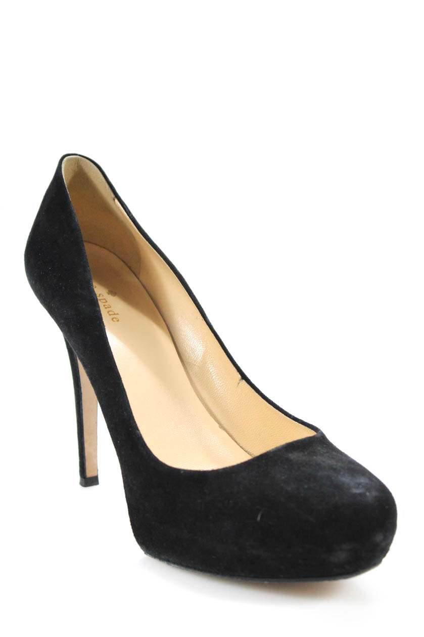 324232b5bcf Details about Kate Spade New York Womens Round Toe Platform Suede Pumps  Black Size 10