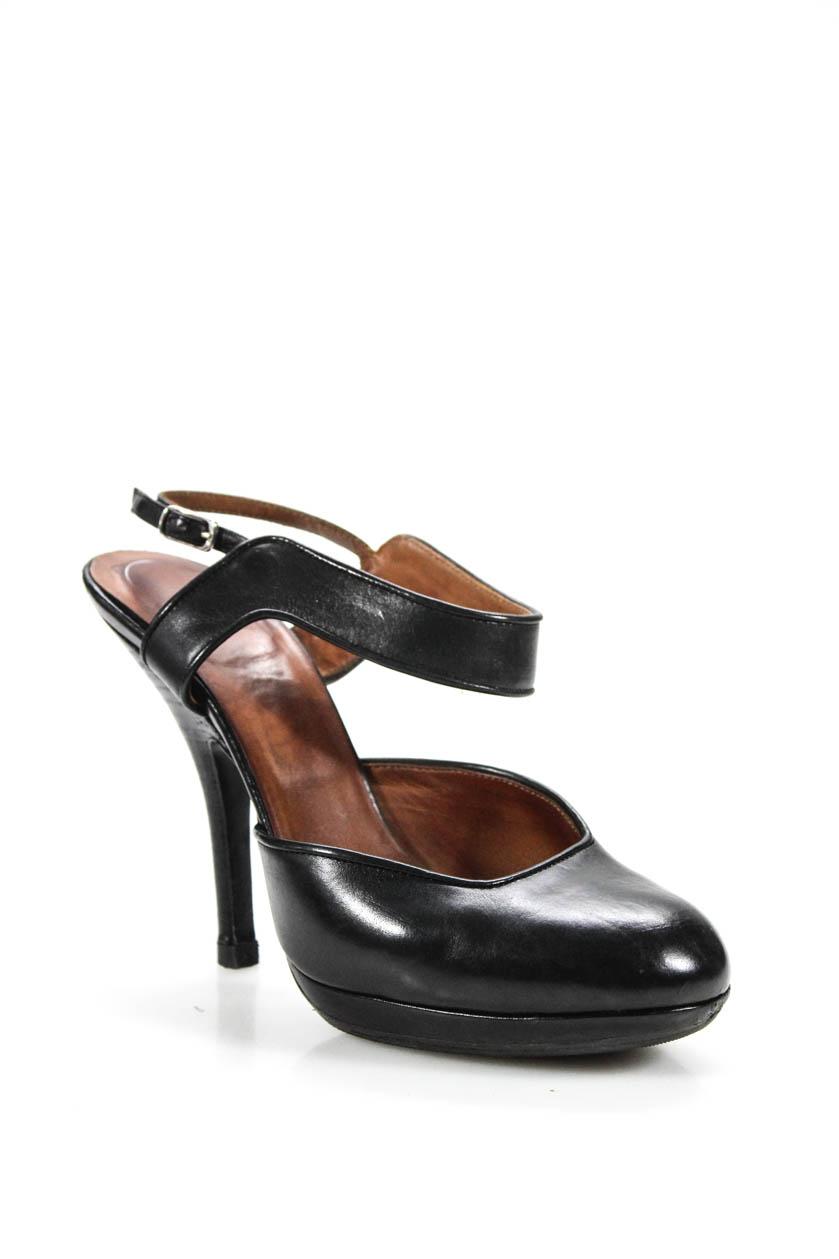 4f7de0fd45 Dries Van Noten Womens Round Toe Ankle Strap Pumps Heels Black Leather Size  36.5