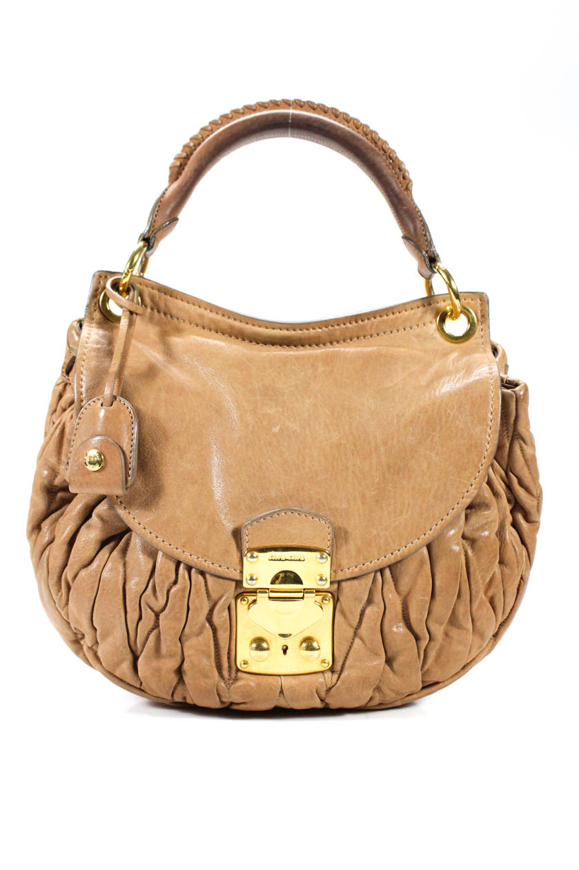 a8eccd168112 Miu Miu Matelasse Single Rolled Handle Push Closure Brown Leather Shoulder  Handb