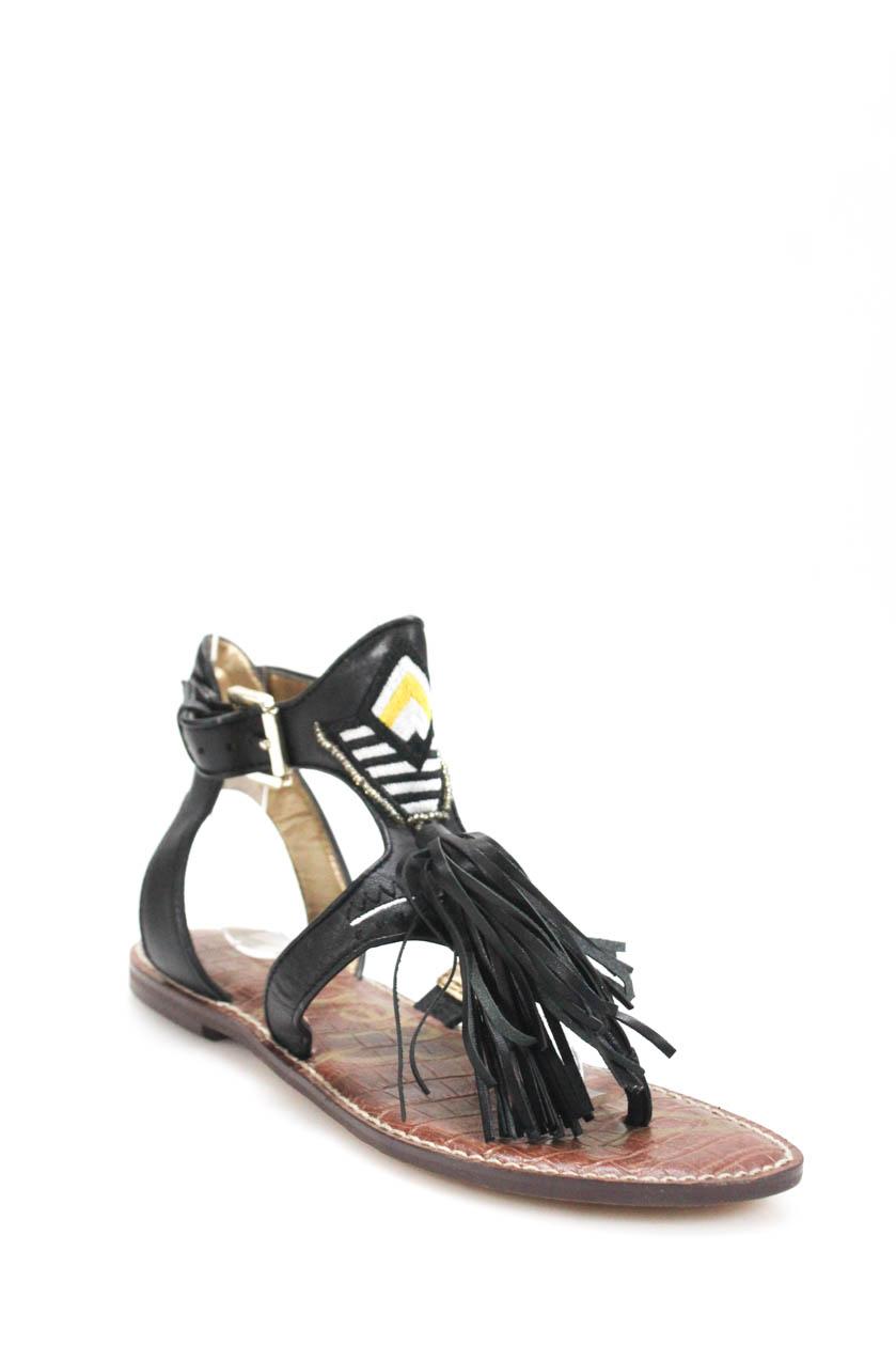 7bca7309fcd67 Details about Sam Edelman Womens Ankle Strap Tassel Accent Sandals Black  Size 6.5