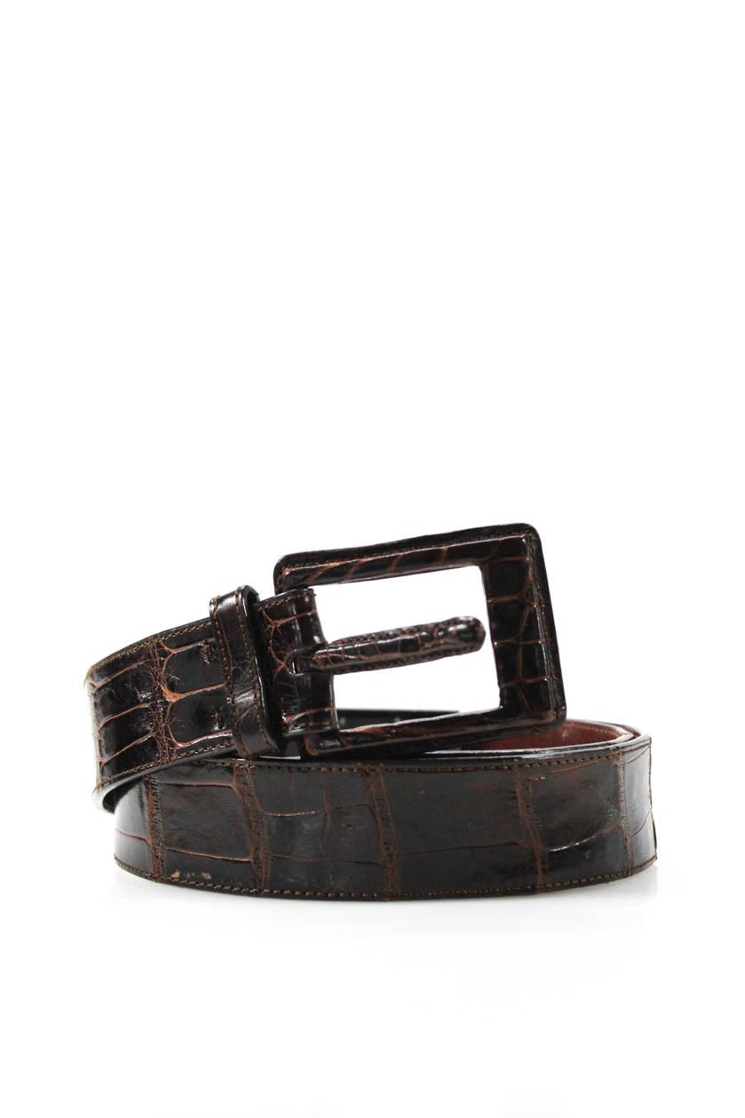 f091edf09cf Details about Calvin Klein Mens Genuine American Alligator Buckle Belt Dark  Brown Size Medium