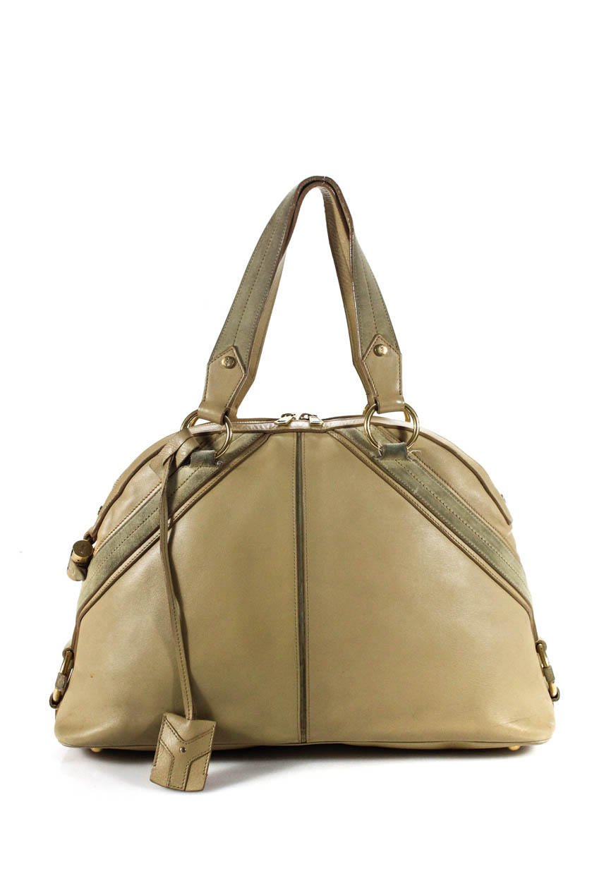 Details about YSL Womens The Muse 2 Shoulder Satchel Handbag Beige Leather  Gold Tone Hardware a001f3e3c4426