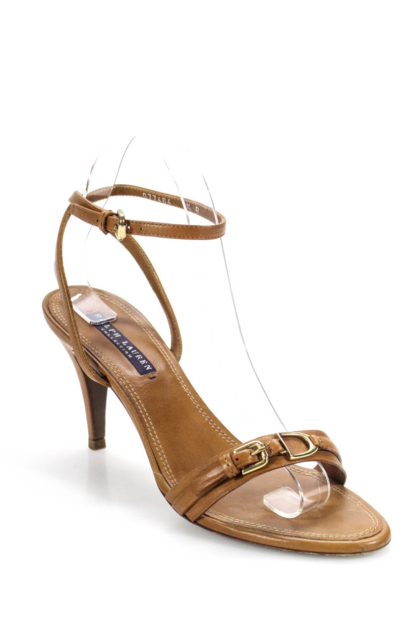 e567be1e61b458 Details about Ralph Lauren Collection Womens Ankle Strap High Heel Sandals  Brown Leather 7.5