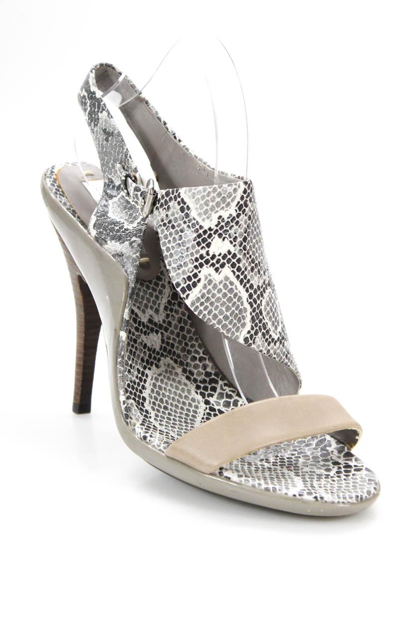 efd6a22d855e BCBG Max Azria Womens Magda Pumps Grey Snake Print Leather Size 10 ...