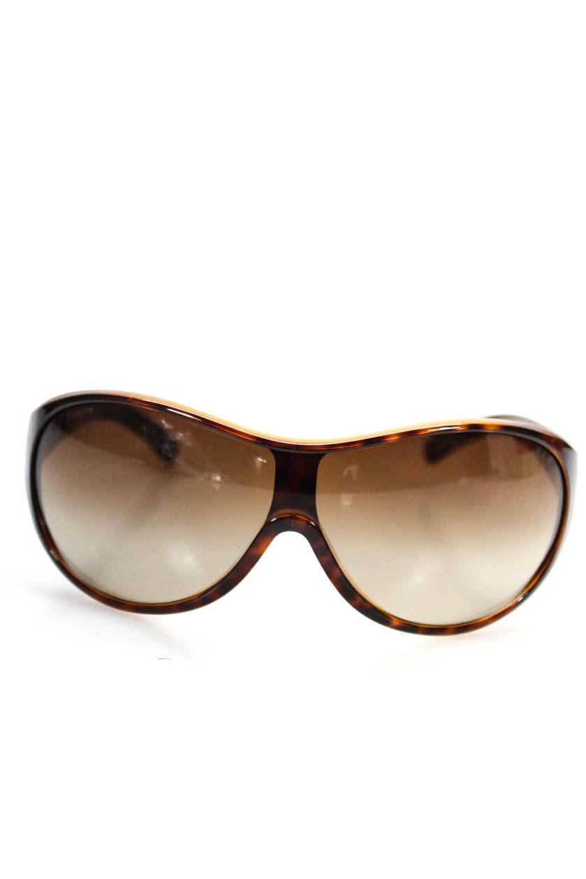 46ef9cfb436c Details about Prada Womens Shield Sunglasses Brown Plastic Tortoise Print