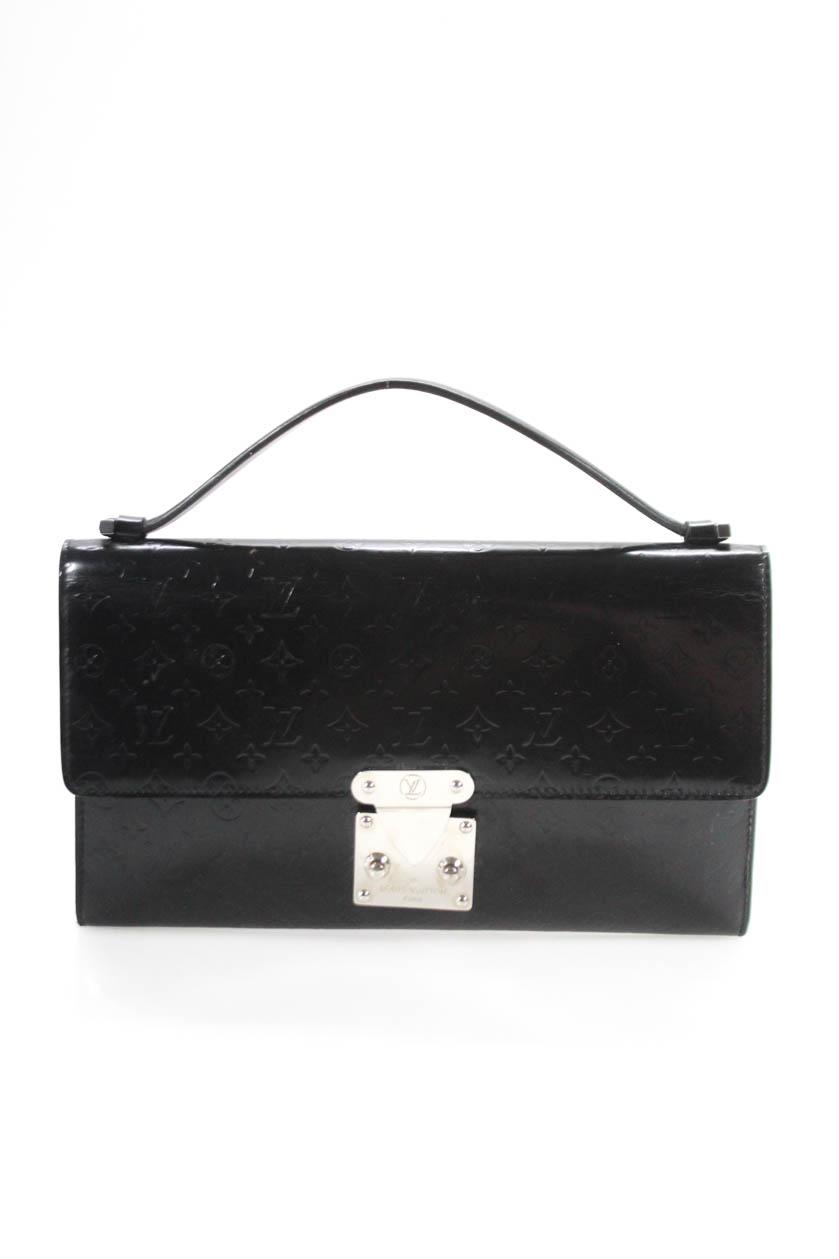 Louis Vuitton Womens Glace Monogram Leather Anouchka Pochette MM Black Handbag