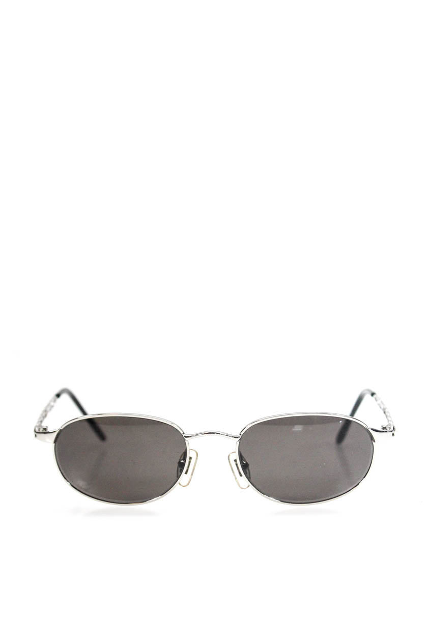 c3184e3c060 Details about GUESS Womens Silver Tone Metal Oval GU 740 Sunglasses Black