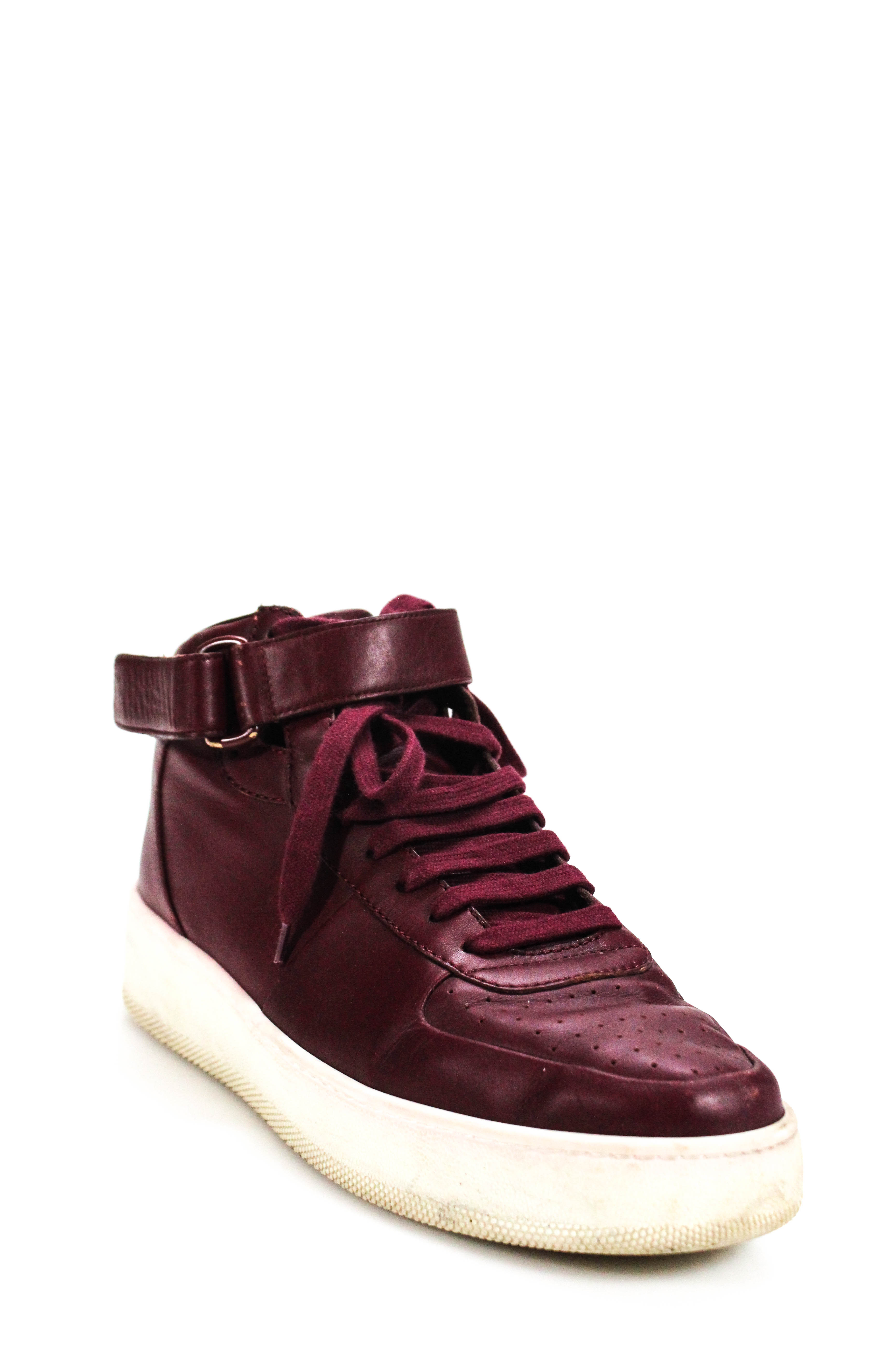 df3ab8e0b20c Celine Womens High Top Lace Up Platform Sneakers Burgundy Leather ...