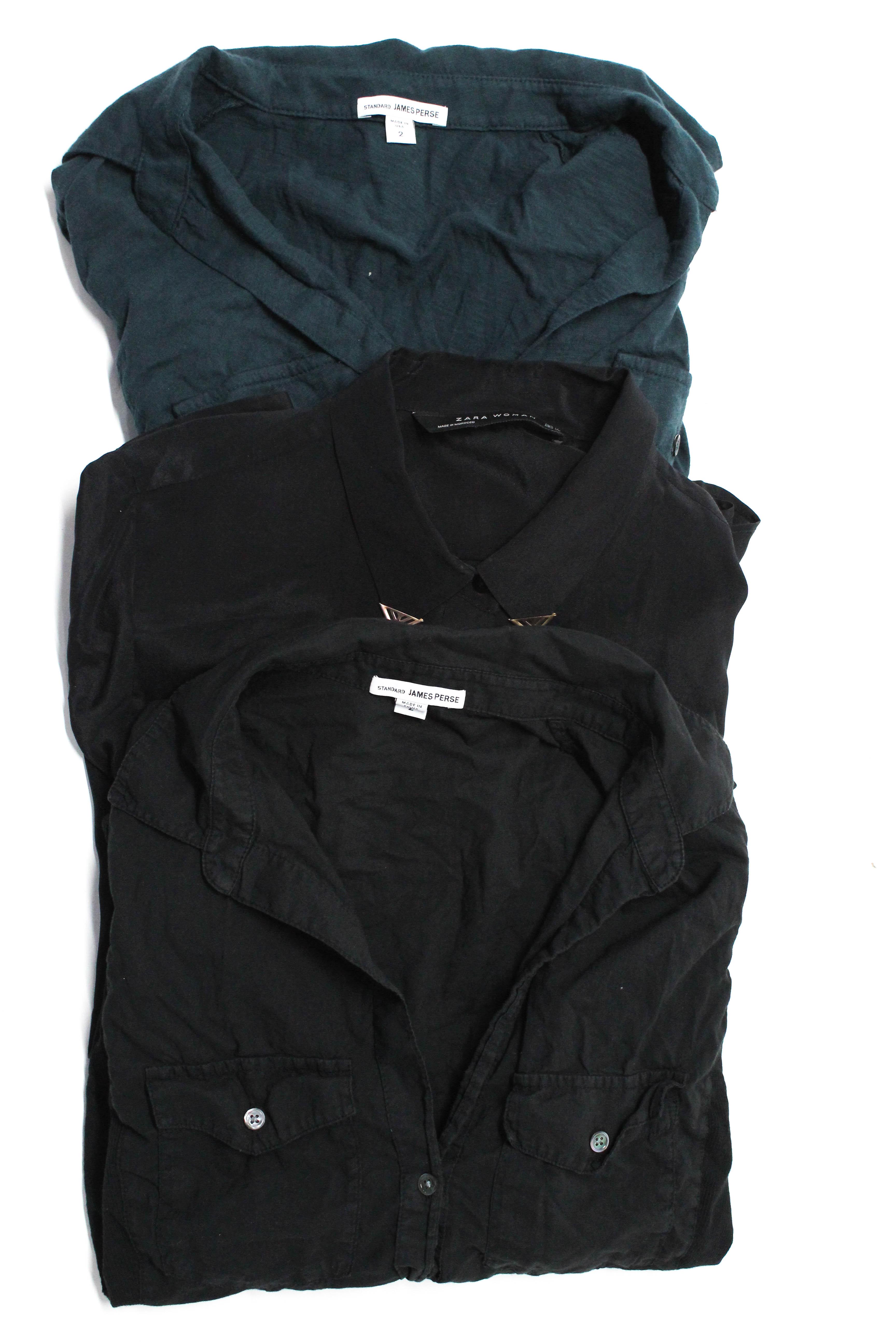 d584d18f Standard James Perse Zara Womens Button Down Tops Black Blue Size M 2 Lot 3