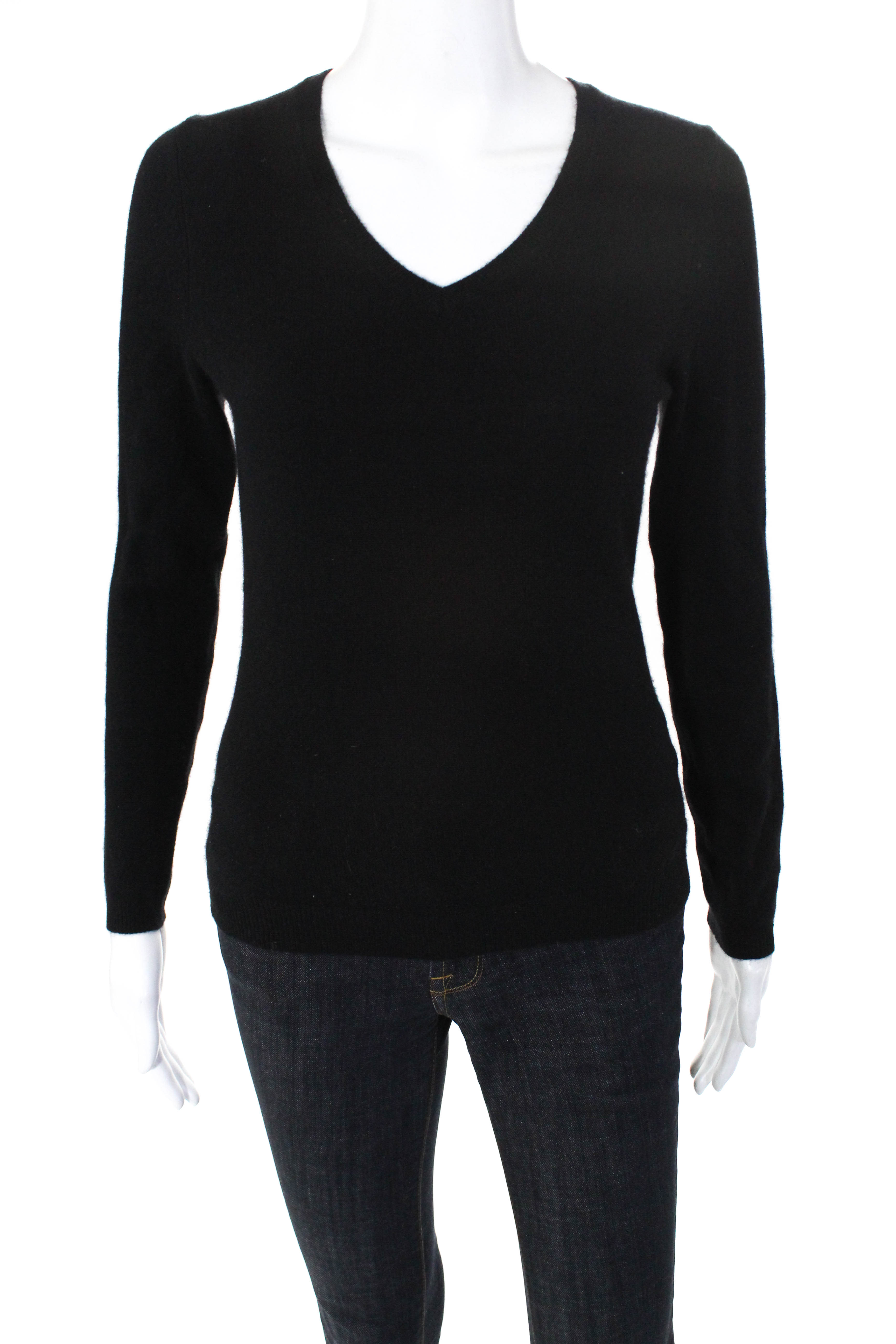 e67c3f886 Details about C by Bloomingdales Womens Long Sleeve Cashmere V-Neck Sweater  Black Size Small