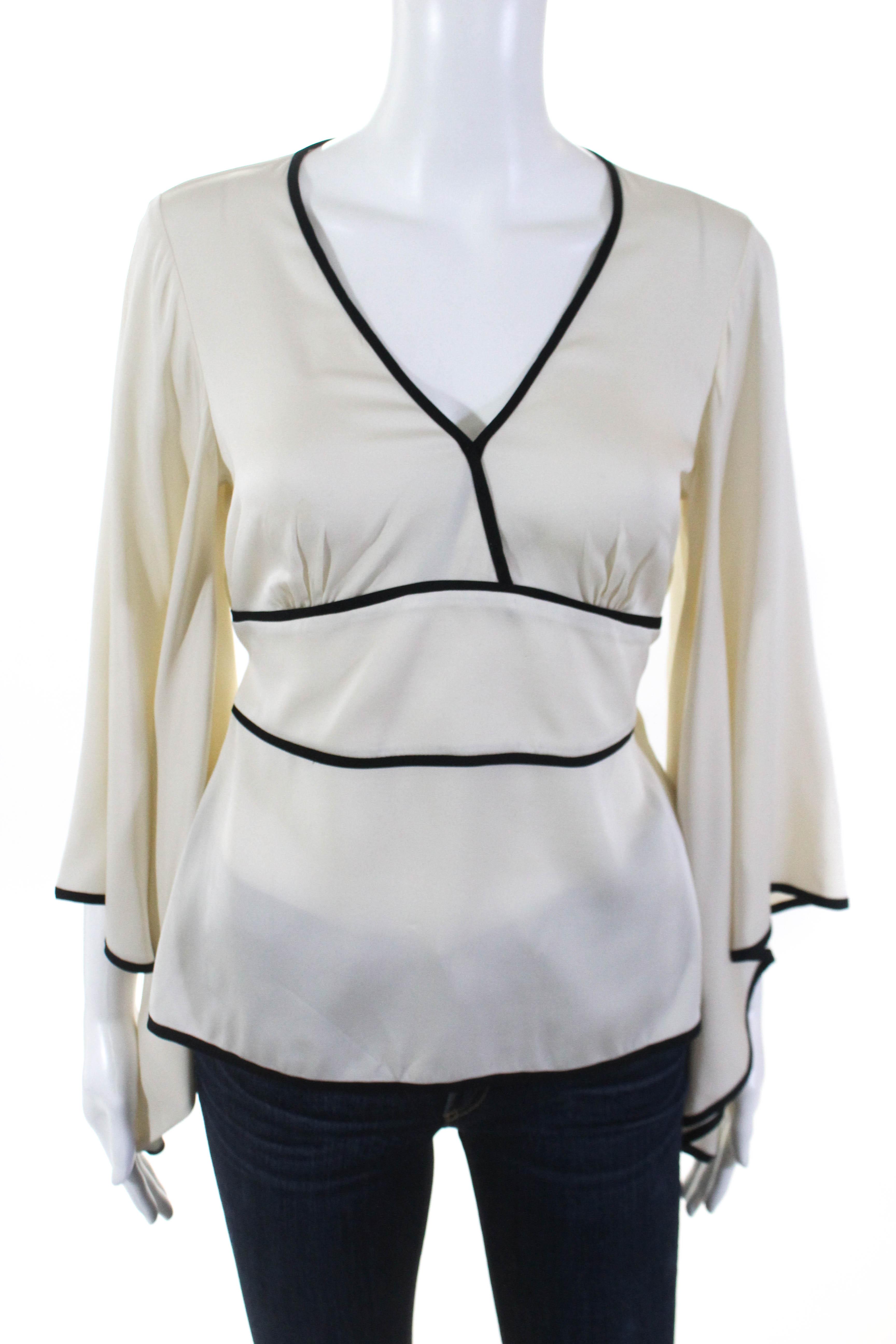 e4cd30cc9e2cc1 Trina Turk Womens Silk V Neck Bell Sleeves Blouse Ivory Black Size Medium