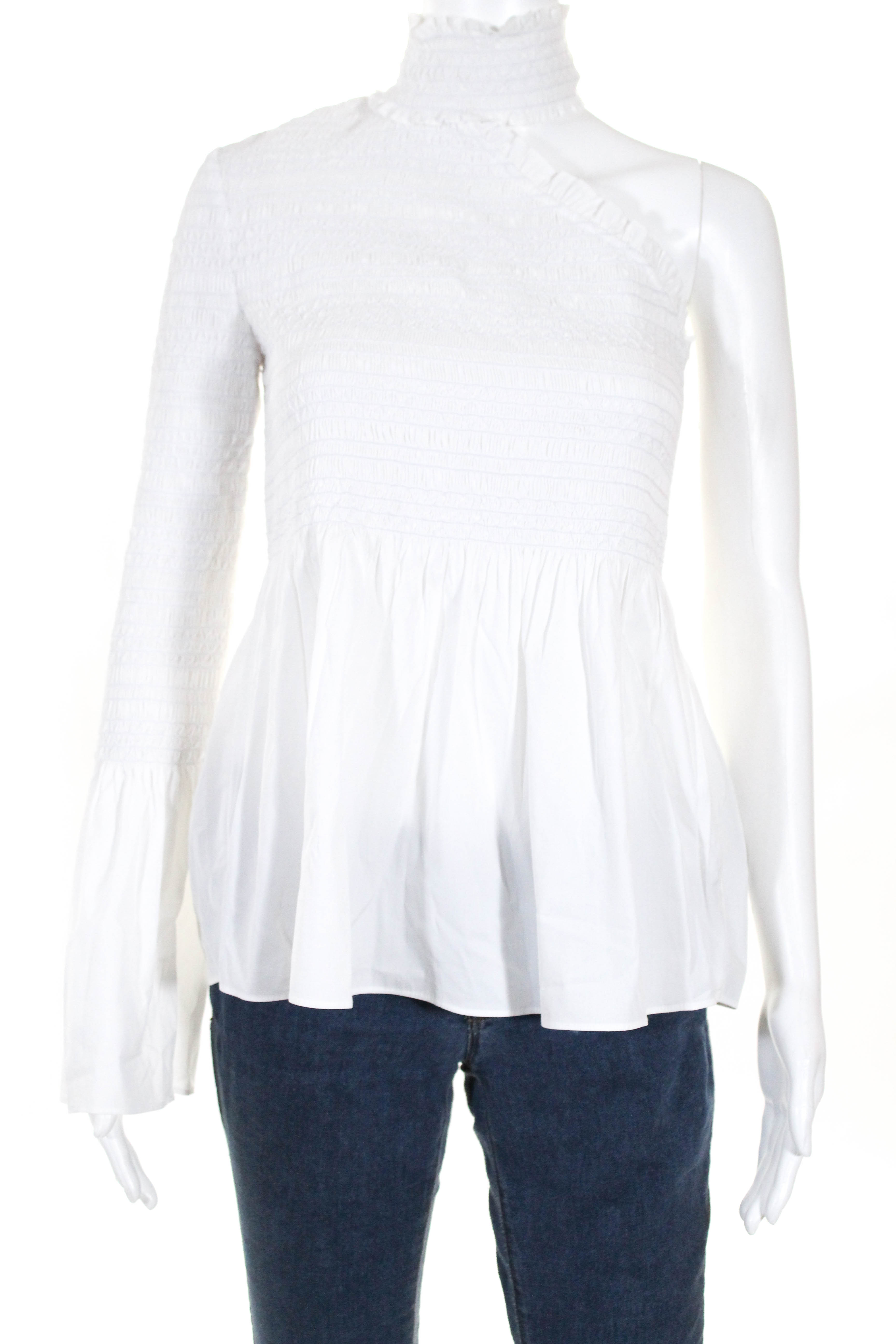 4207f6bff39 A.L.C. Womens One Shoulder Top Blouse White Cotton Smocked Ruffle Size 4